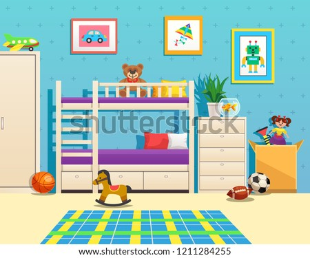 Tidy children room interior with bunk bed pictures on wall aquarium with fish and toys vector illustration