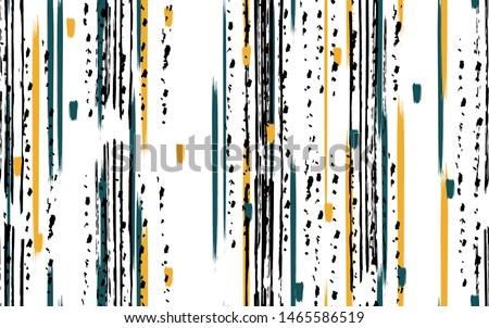 Tie dye stripe green and black brush vector seamless pattern texture grunge. Line ink abstract paint print on white textile background.