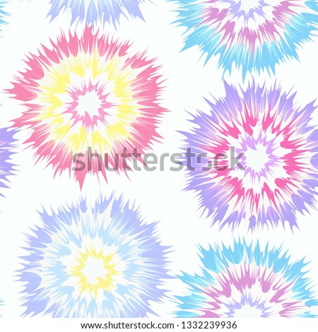 Tie Dye Vector Repeat Pattern Seamless Multi Color Pastel