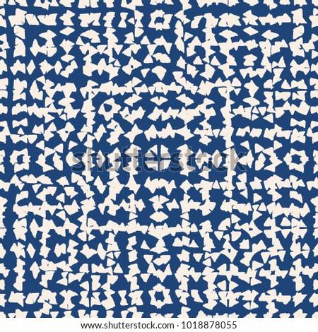 Tie dye watercolour seamless pattern. Vector japanese shibori print. Geometric ikat endless tile. Organic texture. Japan endless rapport.  Vector kimono tie dye oriental seamless pattern.