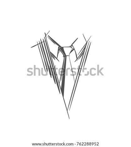 Tie Logo. Gray Strokes and lines Necktie Icon, Part of men's clothing in business style. Sketch symbol  in a simple style for illustrations, web, business cards, invitations, app. Isolated Vector