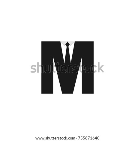 tie under black suit logo formed from letter m