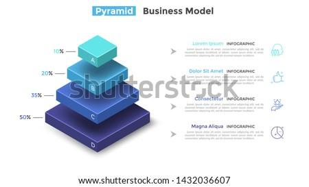 Tiered pyramid diagram with 4 segments or layers and percentage indication. Concept of four levels of hierarchy. Modern infographic design template. Vector illustration for presentation, brochure.