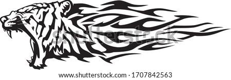 Tiger Abstract Flame, Lunging Predator Animal