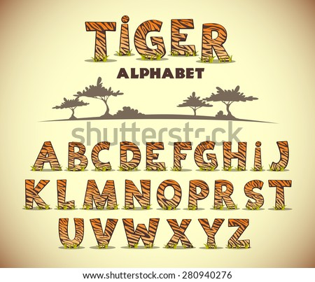 tiger alphabet  vector font