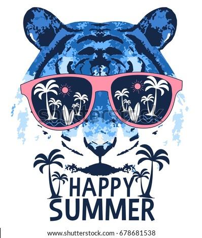 tiger and happy slogan illustration vector.