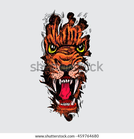 tiger anger colorful tattoo