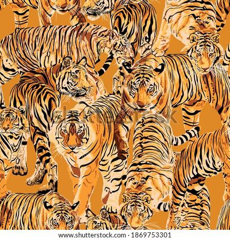 tiger art  seamless pattern  on