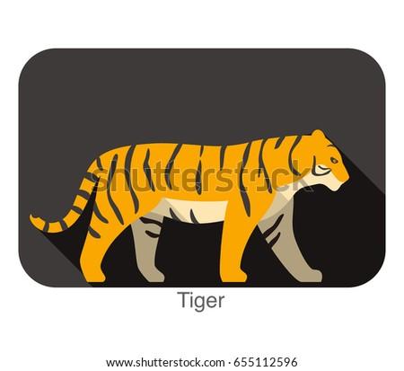 tiger bear walking side flat 3d