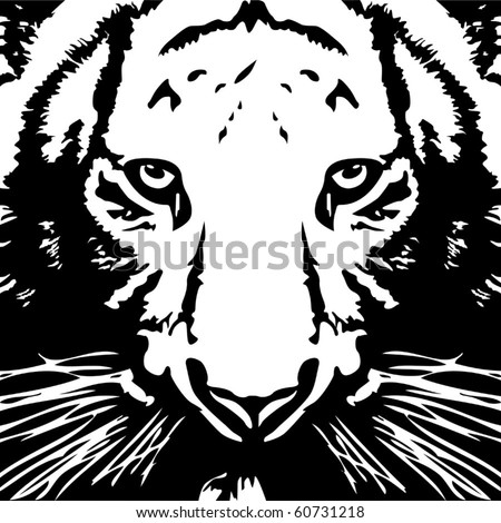 Tiger black& white vector