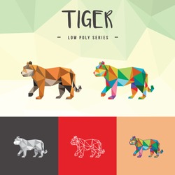 TIGER CHINESE ZODIAC ANIMALS LOW POLY LOGO ICON SYMBOL SET. TRIANGLE GEOMETRIC POLYGON