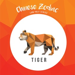 TIGER CHINESE ZODIAC ANIMALS LOW POLY LOGO ICON SYMBOL. TRIANGLE GEOMETRIC POLYGON