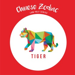 TIGER CHINESE ZODIAC ANIMALS POP ART LOW POLY LOGO ICON SYMBOL. TRIANGLE GEOMETRIC POLYGON