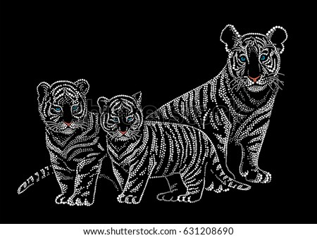 tiger cubs dot illustration