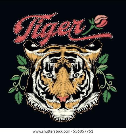 Tiger embroidery design.vector