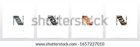 Tiger Eye Inside Letter Logo Design N Foto stock ©