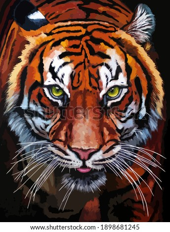 tiger face vector oil painting