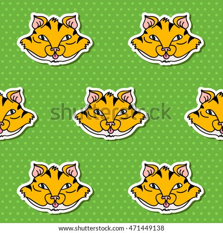 tiger faces on seamless pattern