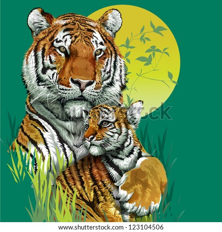 Tiger family in jungle Vector illustration