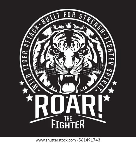 tiger fighter typography  tee