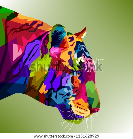 tiger  head colorful on pop art