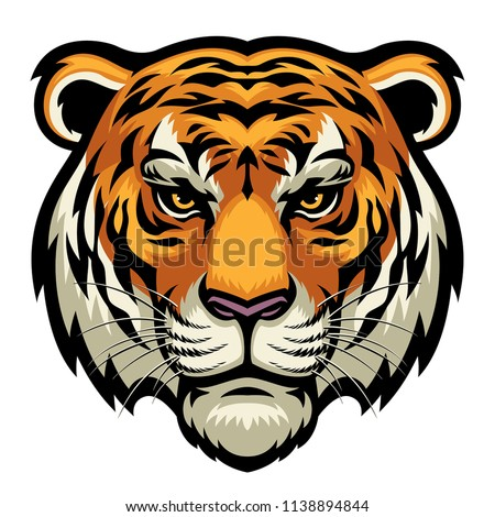 tiger head in detailed style