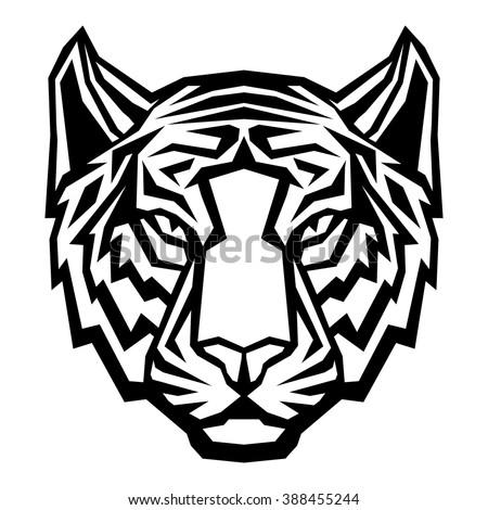 tiger head logo mascot on white