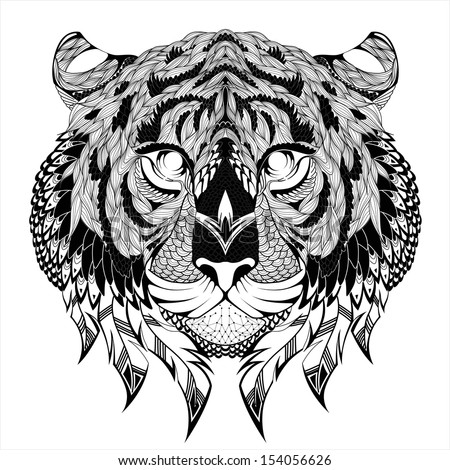 Tiger head Tattoo Vector illustration