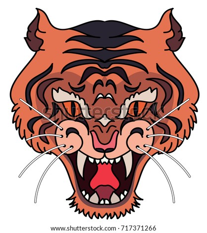 Tiger head vector isolate on white background.traditional tattoo tiger head.