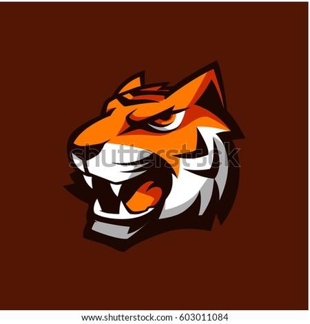 tiger head vector stock icon