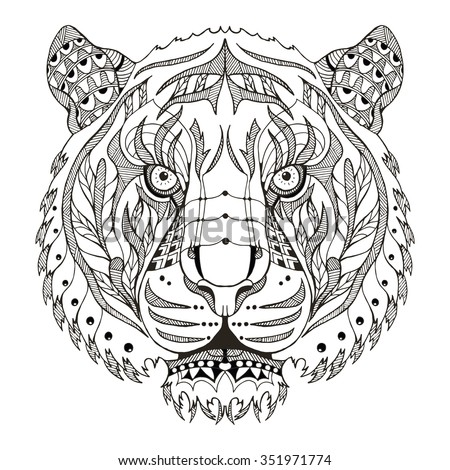 tiger head zentangle stylized