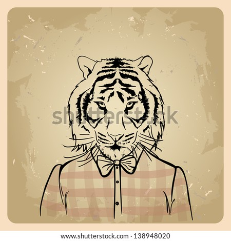 Tiger hipster in a shirt on a vintage background