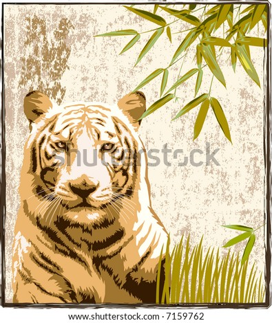 Tiger in a jungle background — VECTOR