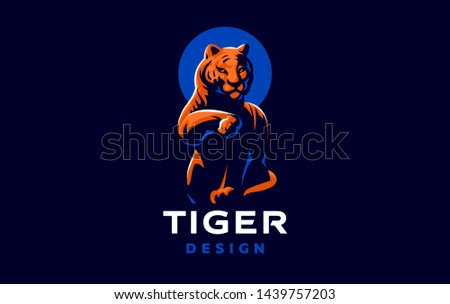 Tiger is washing its paw. Vector illustration.
