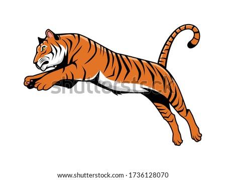 tiger jumping mascot logo