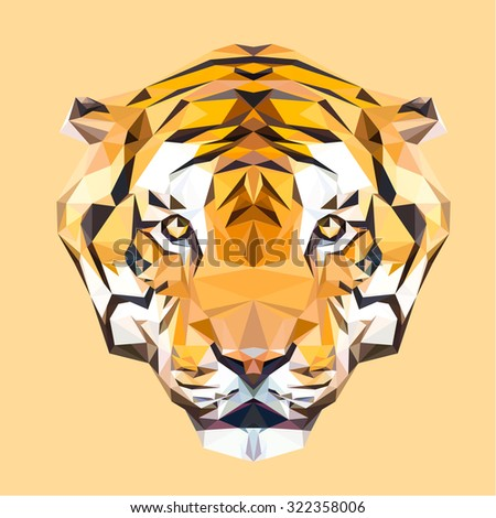 tiger low poly design triangle