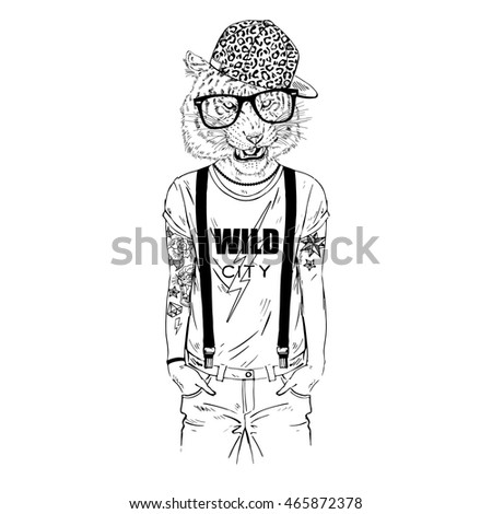 tiger man hipster dressed up in