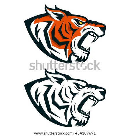 tiger mascot head of angry