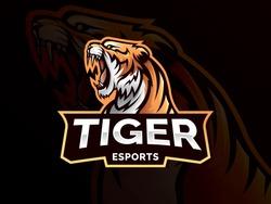 Tiger mascot sport logo design. Tiger animal mascot head vector illustration logo. Wild cat head mascot, Tiger head emblem design for eSports team. Vector illustration