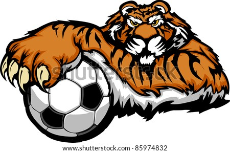 tiger mascot with soccer ball