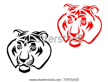 Tiger mascots isolated on white for tattoo design - also as emblem. Jpeg version also available in gallery