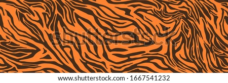 Tiger or zebra fur repeating texture. Animal skin stripes, jungle wallpapers. Seamless vector pattern