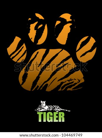 Tiger paw and fur - vector illustration