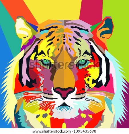 Tiger Pop Art Portrait Vector