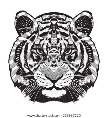 Tiger Psychedelic Drawing Stock Vector Illustration