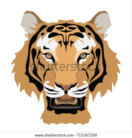 tiger's face with opened mouth