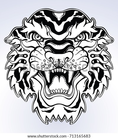 Tiger's portrait made in an old-stylized tattoo. Vector illustration for coloring book, t-shirts, tattoo art, boho design, posters, textiles. Isolated vector illustration.