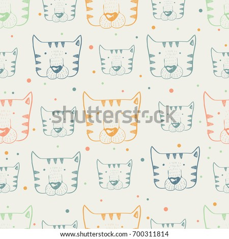 tiger, seamless pattern,hand drawn vector illustration, can be used for kid's or baby's shirt design, fashion print design, fashion graphic, t-shirt, kids wear