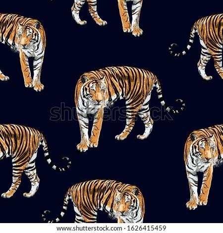 tiger seamless pattern on dark