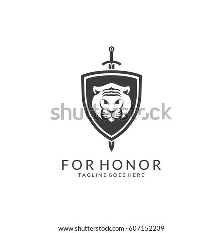 Tiger Shield Logotype. Easy to edit, change size, color and text.